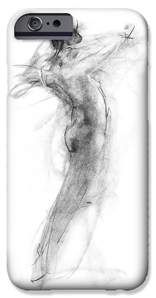 Figure Drawing iPhone Cases - Girl in Movement iPhone Case by Christopher Williams