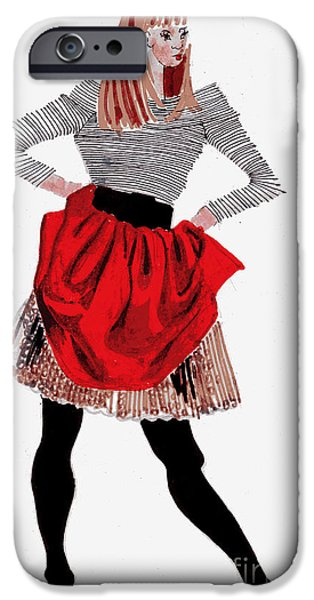 Twiggy Paintings iPhone Cases - Girl In Red Skirt iPhone Case by Genevieve Esson
