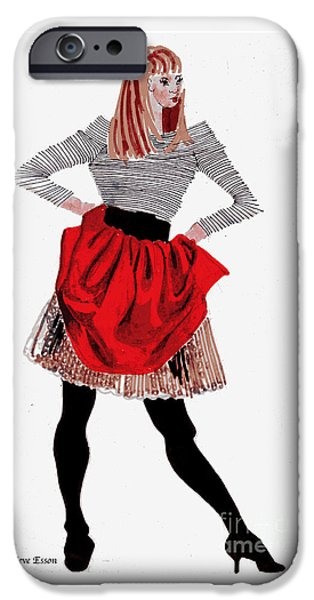 Young Paintings iPhone Cases - Girl In Red Skirt iPhone Case by Genevieve Esson