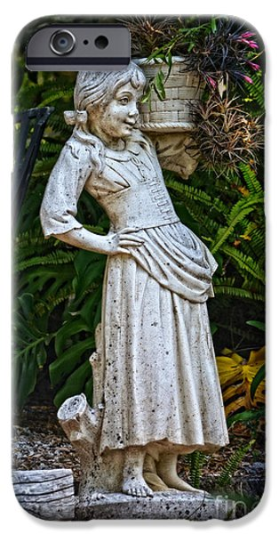 Young iPhone Cases - Girl in the Garden - Sintra iPhone Case by Mary Machare