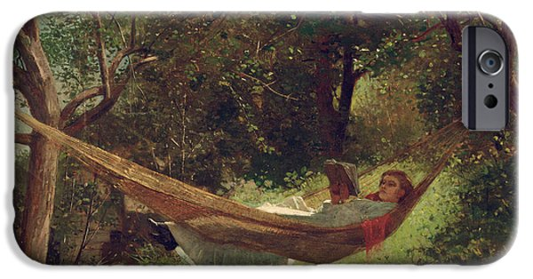 Girl Paintings iPhone Cases - Girl in the Hammock iPhone Case by Winslow Homer