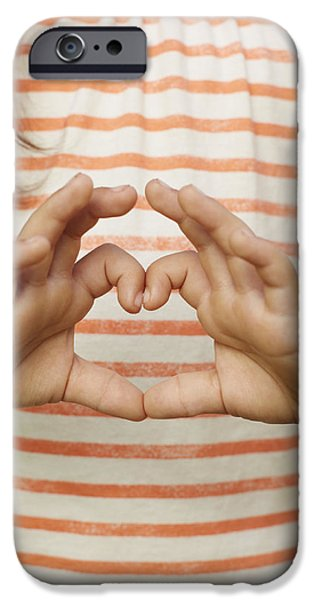 Caucasian iPhone Cases - Girl Making Heart Shape With Fingers iPhone Case by Gillham Studios