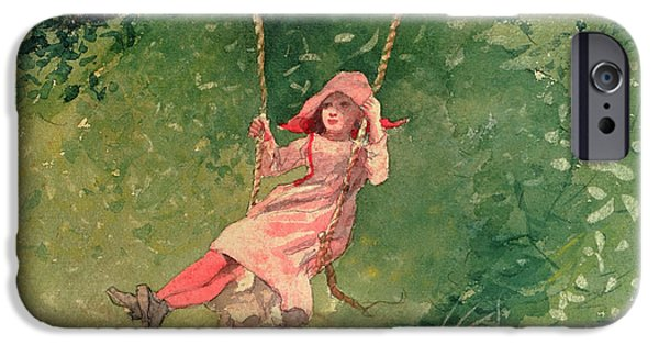 Girl Paintings iPhone Cases - Girl on a Swing iPhone Case by Winslow Homer