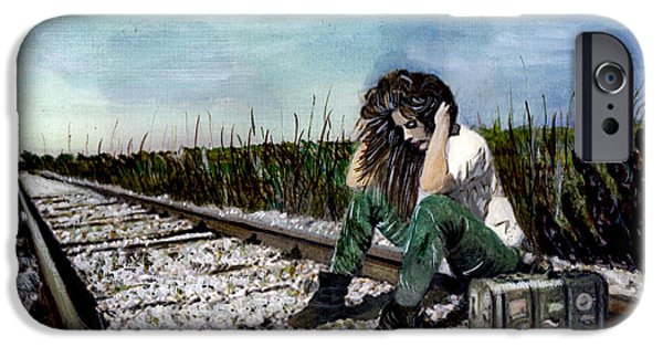 Thinking iPhone Cases - Girl On the Tracks iPhone Case by Penny Winn