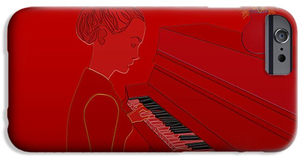 Piano iPhone Cases - Girl playing piano iPhone Case by Anna Elia