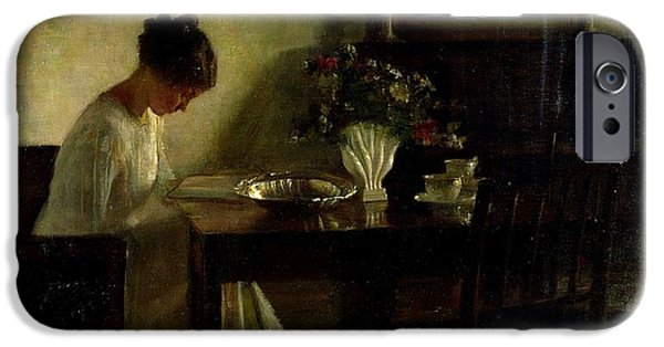 Girl Paintings iPhone Cases - Girl Reading in an Interior  iPhone Case by Carl Holsoe