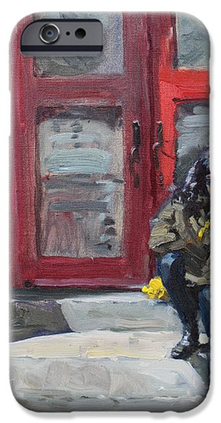 Montreal Streets Paintings iPhone Cases - Girl Sitting at Red Doorstep iPhone Case by Ylli Haruni