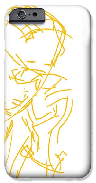 Abstract Digital Drawings iPhone Cases - Girl Talk iPhone Case by Robert Yaeger