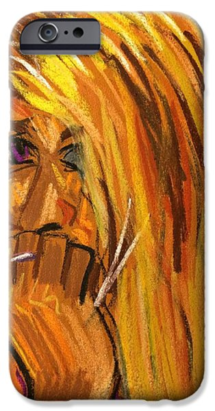 Thinking Pastels iPhone Cases - Girl Thinking iPhone Case by Tim Bruneau