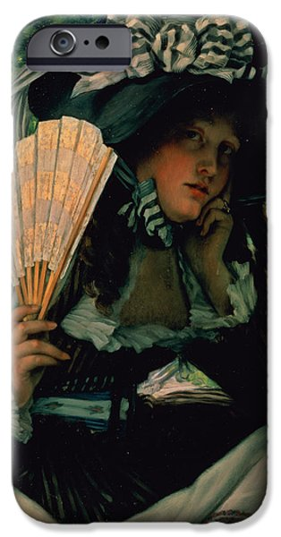 Thinking iPhone Cases - Girl With A Fan iPhone Case by James Jacques Joseph Tissot