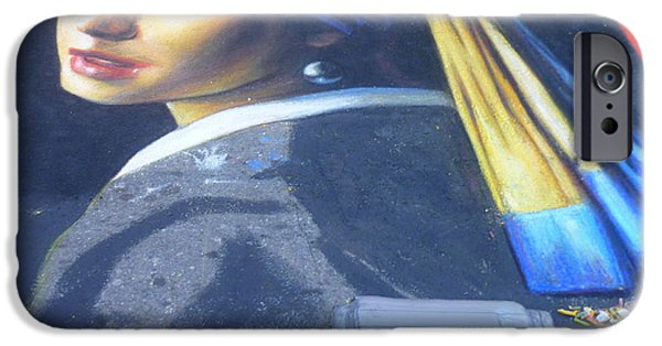 Painter Photographs iPhone Cases - Girl with A Pearl Earring - Chalk artwork iPhone Case by Lingfai Leung