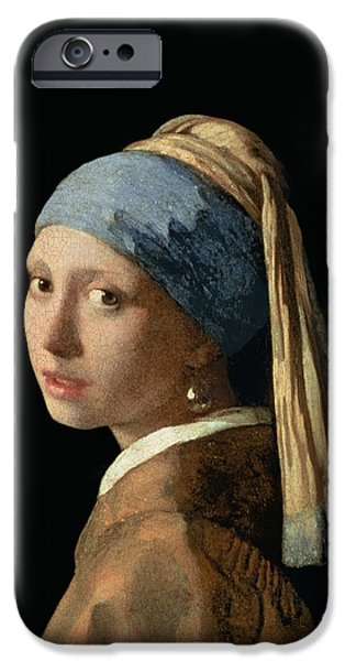 Young iPhone Cases - Girl with a Pearl Earring iPhone Case by Jan Vermeer