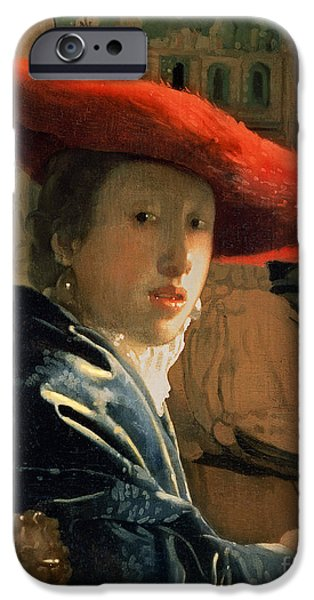 Holland Paintings iPhone Cases - Girl with a Red Hat iPhone Case by Jan Vermeer