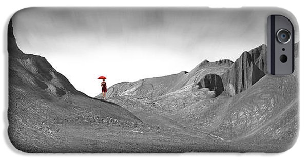 Surrealism Digital Art iPhone Cases - Girl with a Red Umbrella 1 iPhone Case by Mike McGlothlen
