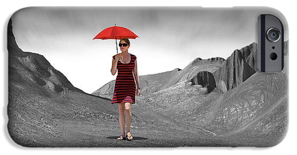 Surrealism Digital Art iPhone Cases - Girl with a Red Umbrella 3 iPhone Case by Mike McGlothlen