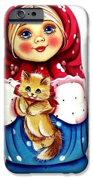 Christmas Sculptures iPhone Cases - Girl With Cat iPhone Case by Viktoriya Sirris