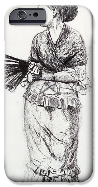 Winslow Homer iPhone Cases - Girl With Fan iPhone Case by Winslow Homer