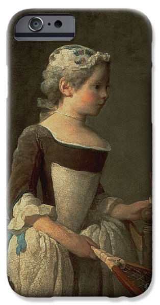 Girl Paintings iPhone Cases - Girl with Racket and Shuttlecock iPhone Case by Jean-Baptiste Simeon Chardin