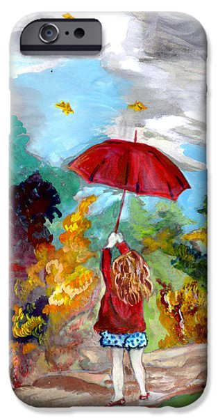 Young Paintings iPhone Cases - Girl with the Red Umbrella iPhone Case by Penny Winn