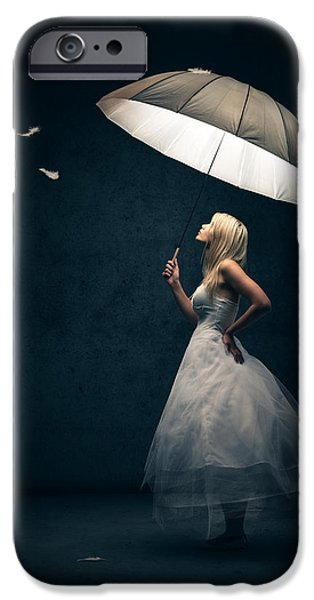 Shine iPhone Cases - Girl with umbrella and falling feathers iPhone Case by Johan Swanepoel
