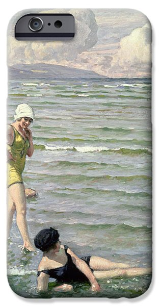 Beach iPhone Cases - Girls Bathing iPhone Case by Paul Fischer