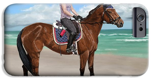 Horse iPhone Cases - Girls best day at the beach iPhone Case by Myke  Irving