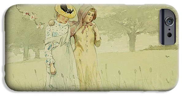 1879 iPhone Cases - Girls strolling in an Orchard iPhone Case by Winslow Homer