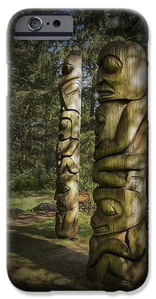 Nation iPhone Cases - Gitksan Totem Poles iPhone Case by Theresa Tahara
