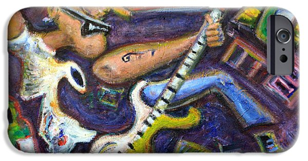 Pearl Jam Paintings iPhone Cases - Give Em The Boot - Punk Rock Cubism iPhone Case by Jason Gluskin