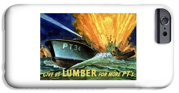 Navy iPhone Cases - Give Us Lumber For More PTs iPhone Case by War Is Hell Store