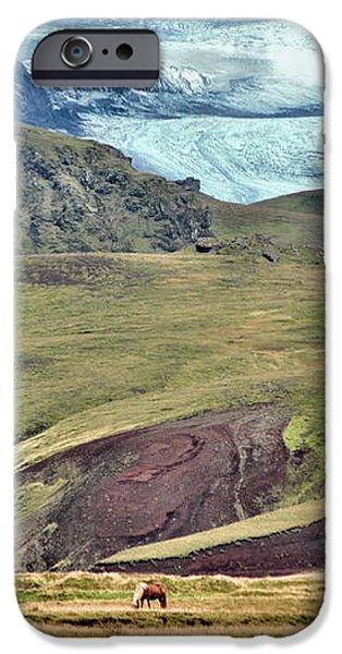 Glacier mountains meadows horses iPhone Case by David Halperin
