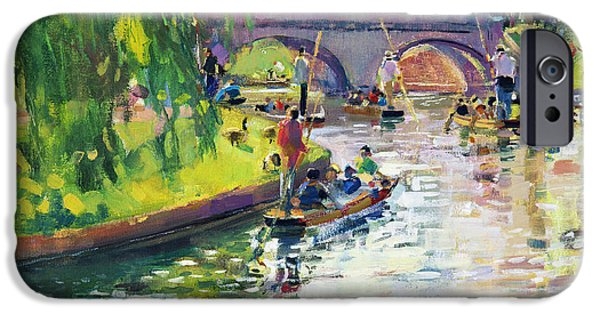 Punting iPhone Cases - Glad Green Summer iPhone Case by Peter Graham