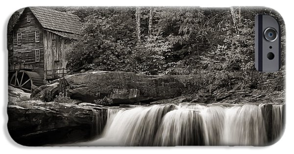 Grist Mill iPhone Cases - Glade Creek Grist Mill Monochrome iPhone Case by Chris Flees