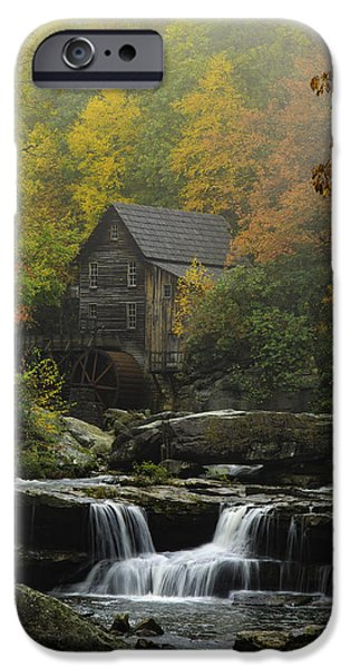 Grist Mill iPhone Cases - Glade Creek Mill in Fall Mist iPhone Case by Emil Davidzuk