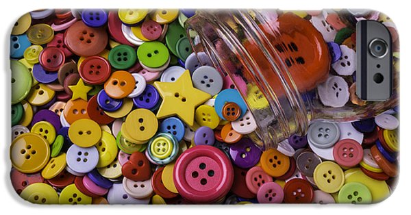 Mending iPhone Cases - Glass Jar With Buttons iPhone Case by Garry Gay