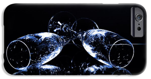 Table Wine iPhone Cases - Glass of shampagne iPhone Case by Toppart Sweden