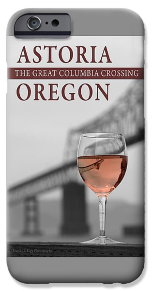 Wine Bottles iPhone Cases - Glass of Wine Inverting Image of Bridge Columbia River Oregon iPhone Case by David Rigg