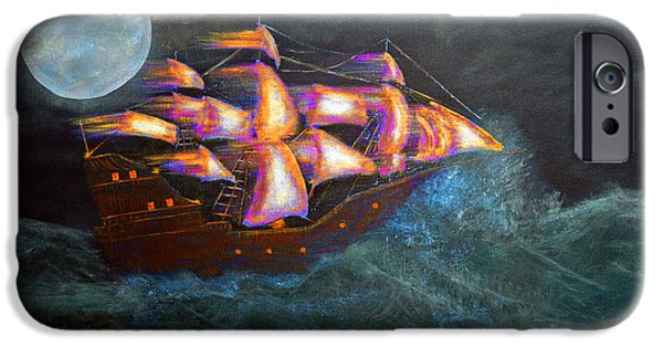 Abstract Digital Paintings iPhone Cases - Pirate ship iPhone Case by Ken Figurski
