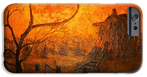 Autumn iPhone Cases - Glass Spooky Moon  iPhone Case by Ken Figurski