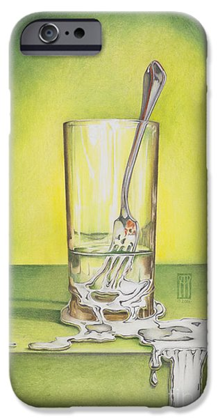 Illustrations iPhone Cases - Glass with Melting Fork iPhone Case by Melissa A Benson