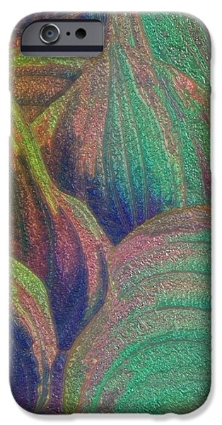 Abstract Digital Paintings iPhone Cases - Glassed Leaf iPhone Case by Jack Zulli