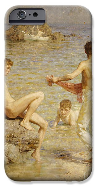 Boats In Water iPhone Cases - Gleaming Waters iPhone Case by Henry Scott Tuke