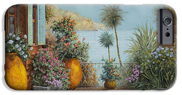 Palm Tree iPhone Cases - Gli Otri Sul Terrazzo iPhone Case by Guido Borelli