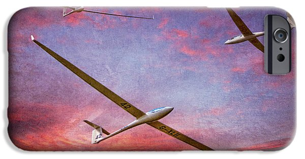 Glider iPhone Cases - Gliders Over The Devils Dyke At Sunset iPhone Case by Chris Lord