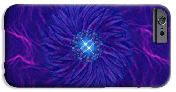 Abstract Digital iPhone Cases - Glimmer Light of Violet iPhone Case by Majula Warmoth