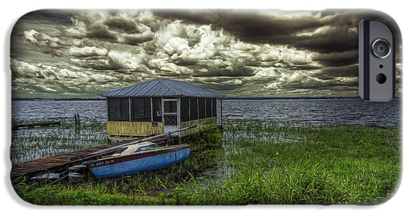 Boat iPhone Cases - Gloomy day By The Lake iPhone Case by Lewis Mann
