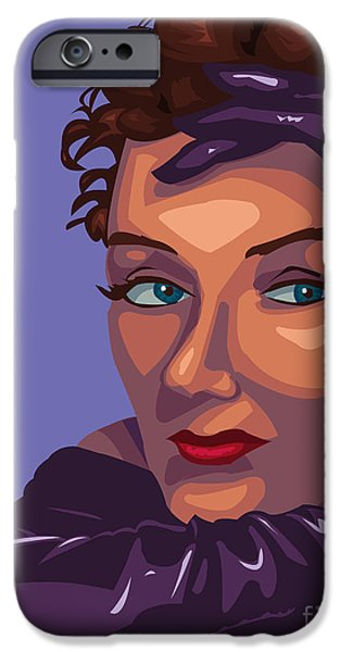 1950s Portraits Paintings iPhone Cases - Gloria iPhone Case by Whitney Morton