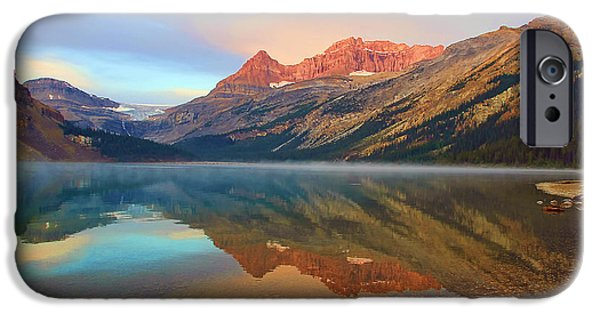 Fog Mist iPhone Cases - Glorious Sunset at Bow Lake iPhone Case by Teresa Zieba