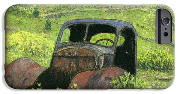 Vintage Car Pastels iPhone Cases - Glory Days iPhone Case by Ginny Neece
