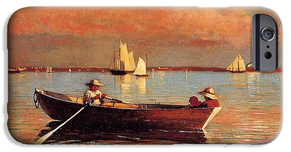 Row Boat Digital iPhone Cases - Gloucester Harbor iPhone Case by Winslow Homer
